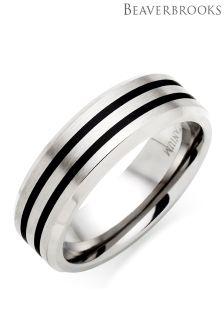 Beaverbrooks Mens Titanium And Black Rhodium Ring