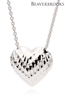 Beaverbrooks 9ct White Gold Heart Necklace