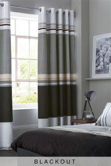 Black Stripe Blackout Eyelet Curtains