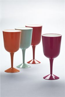 Set Of 4 Cuba Plastic Wine Glasses