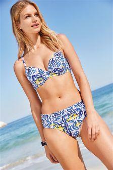 Tile Print Shape Enhancing Bikini Top