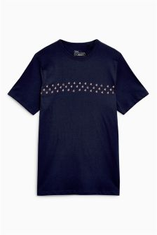 Fish Print T-Shirt With Embroidery