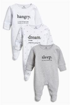 Slogan Sleepsuits Three Pack (0mths-2yrs)