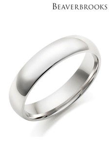 Beaverbrooks Mens 9ct White Gold Wedding Ring