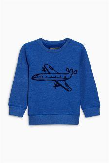 Textured Plane Print Crew (3mths-6yrs)