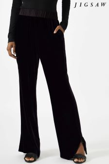 Jigsaw Blue Silk Velvet Wide Leg Trouser