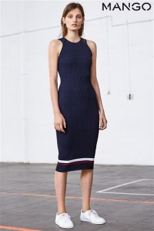Mango Navy Stripe Knit Dress