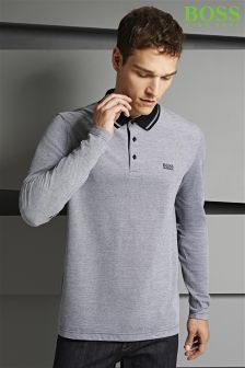 Boss Green Grey Contrast Collar Prato Long Sleeve Poloshirt