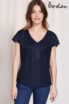Boden Navy V-Neck Ravello Top
