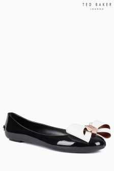 Ted Baker Black Cream PVC Bow Ballerina Pump