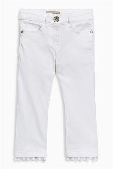 Pom Pom Hem Cropped Flare Jeans (3-16yrs)