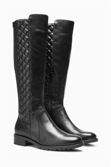 Leather Quilted Long Boots