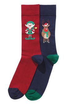 Rudolph And Elf Socks Two Pack