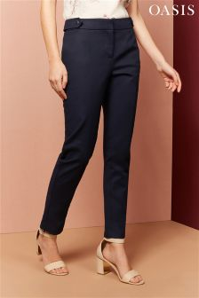 Oasis Navy Compact Cotton Trousers