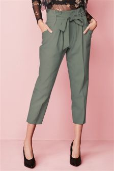 Paper Bag Tie Waist Taper Trousers
