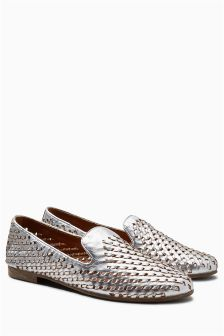 Leather Weave Slipper Shoes