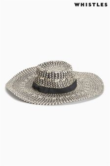 Whistles Cream/Black Interest Weave Wide Brim Sun Hat