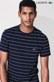 Lacoste® Navy Striped Jacquard Crew Neck T-Shirt