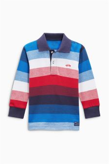 Long Sleeve Striped Poloshirt (3mths-6yrs)