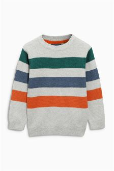 Three Colour Stripe Crew Neck Jumper (3-16yrs)