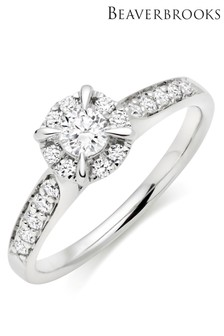 Beaverbrooks Platinum Diamond Cluster Ring