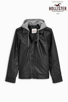 Hollister Black Leather Biker Jacket