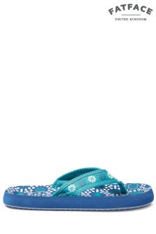 FatFace Soft Teal Sea Sketch Flip Flop