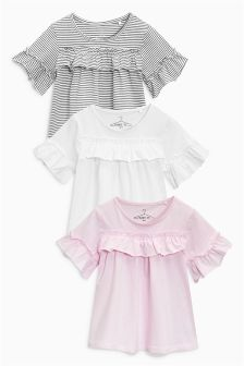 Short Sleeve Ruffle Front T-Shirts Three Pack (3-16yrs)