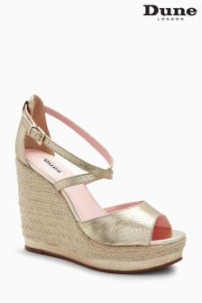 Dune Gold Leather Platform Wedge Sandal
