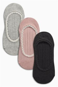 Lace Trim Footsies Three Pack