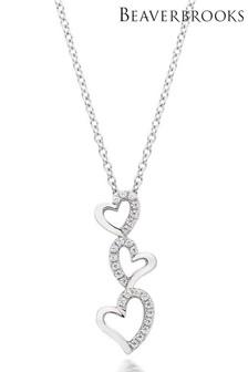 Beaverbrooks Silver Cubic Zirconia Triple Heart Pendant