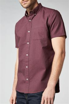 Short Sleeve Polka Dot Oxford Shirt
