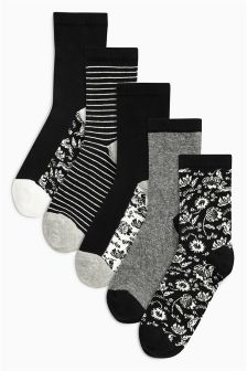 Floral Mix Footbed Ankle Socks Five Pack