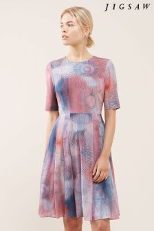 Jigsaw Pink Spirograph Print Silk Dress