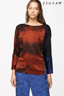 Jigsaw Winter Sunrise Silk Top