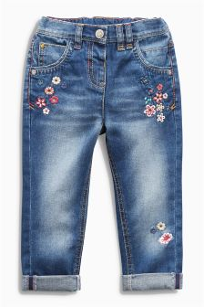 Flower Embroidered Jeans (3mths-6yrs)