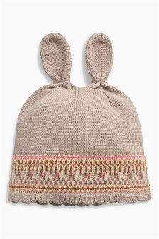 Bunny Fairisle Pattern Hat (0mths-2yrs)