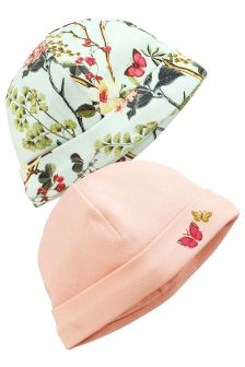 Garden Print Beanie Hats Two Pack (0-18mths)