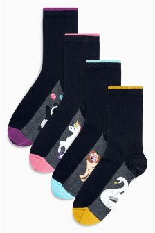 Giant Character Footbed Ankle Socks Four Pack