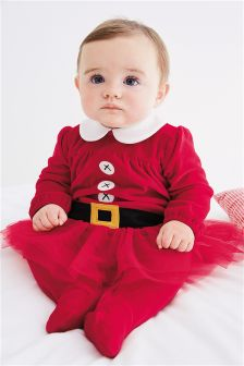Mrs Santa Velour Sleepsuit (0mths-2yrs)
