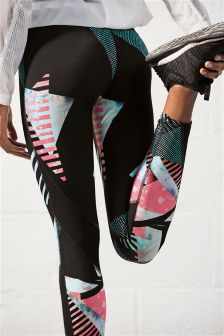 Technical Full Length Leggings With Mesh