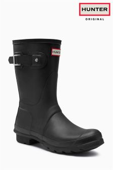 Hunter Black Matte Short Wellington Boot