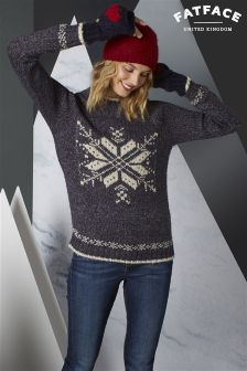 Fat Face Navy Snowflake Placement Christmas Jumper