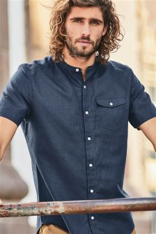 Short Sleeve Printed Linen Blend Grandad Shirt