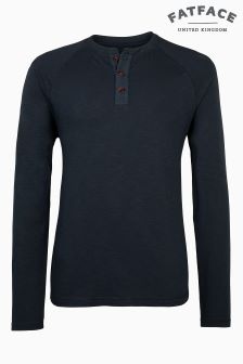 Fat Face Dark Ink Long Sleeve Slub Henley Tee