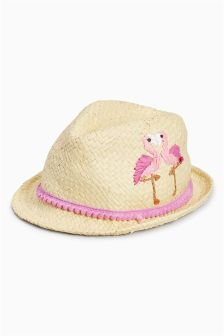 Flamingo Embroidered Trilby (Younger Girls)
