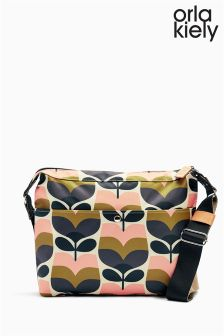Orla Kiely Pink Multi Rosebud Print Cross Body Bag