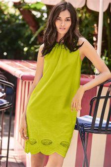 Linen Blend V Back Broderie Dress