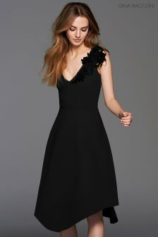 Gina Bacconi Black Evelina Lace Trim Dress