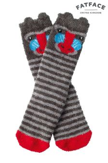 Fat Face Charcoal Fluffy Baboon Socks